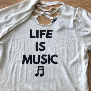"""🎶 Fabulous Hot Topic Sweater """"Life is Music"""" 3X"""